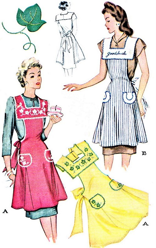 1940s CHARMING Full Bib Apron Pattern McCALL 1169  WW II Era Square Neckline Aprons With Applique Transfer Bust 32-34 Vintage Sewing Pattern