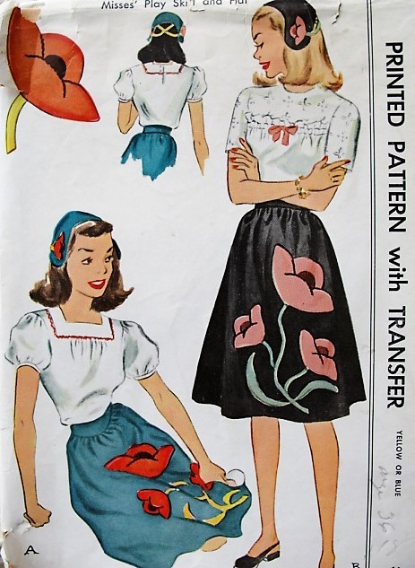1940s CUTE Skirt and Hat Pattern McCALL 1342 Easy To Make Skirt With Applique Transfers, Waist Size 26-30 Vintage Sewing Pattern FACTORY FOLDED