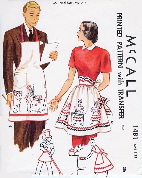 1940s Mr and Mrs APRONS Pattern McCALL 1481 Chef Barbecue Mens Apron ...