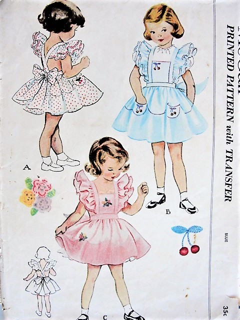 Vintage 1950s SWEET Child's Pinafore and Detachable Petticoat McCall 1605 Sewing Pattern Chest 21
