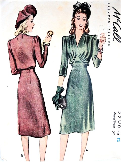1940s BEAUTIFUL Day or Dinner Dress Pattern McCALL 3906 Gorgeous Draped Bodice, V Neckline Bust 30 Vintage Sewing Pattern