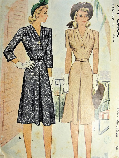 1940s BEAUTIFUL Dress Pattern McCALL 4605 Flattering Draped Bodice WW II Era War Time Dress Bust 34 Vintage Sewing Pattern