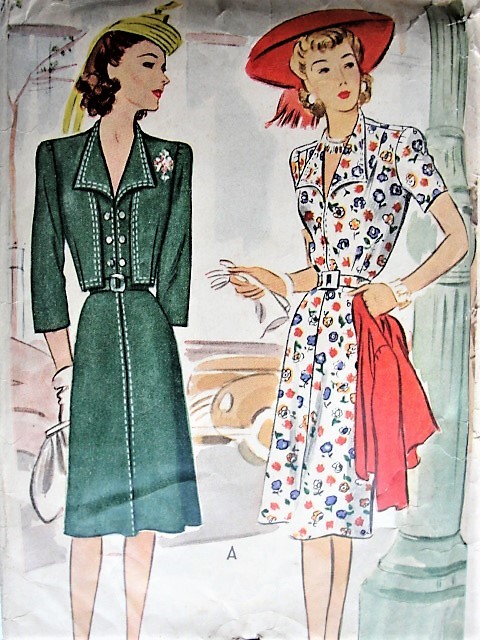 Vintage 1940s SMART Dress with Padded Shoulders and Bolero McCall 4752 Sewing Pattern Bust 38