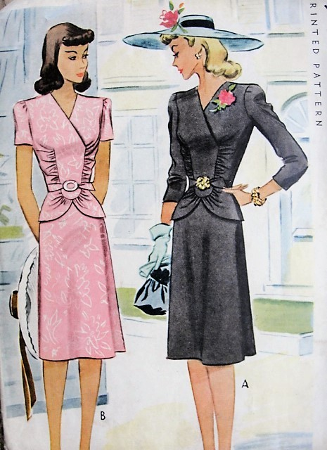 1940s BEAUTIFUL 2 Pc Dress Pattern McCALL 4833 Daytime or Evening Cocktails Figure Flattering Design WW 2 Bust 32 Vintage Sewing Pattern