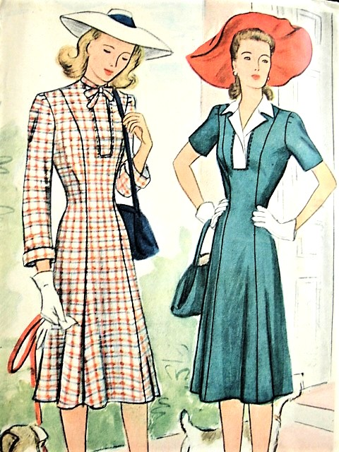1940s  FLATTERING WW II Princess Seam Dress Pattern McCALL 4838 Two Beautiful Styles Bust 30 Vintage Sewing Pattern FACTORY FOLDED