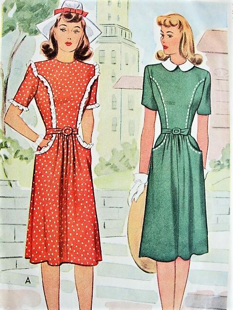 1940s CUTE Nancy Drew Style WW II Dress Pattern McCALL