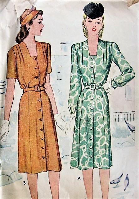 1940s STYLISH Front Button Dress Pattern McCALL 5629 WW II Era Bust ...
