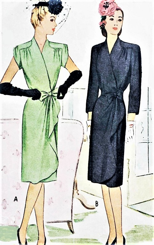1940s FILM NOIR Wrap Around Dress Pattern McCALL 5805 Perfect Cocktail Dinner Evening Party Dress Bust 32 Vintage Sewing Pattern