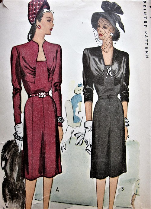 1940s DRAMATIC Evening Dinner Party Dress Pattern McCALL 6263 Two Lovely Neckline Choices, Figure Flattering Designs Bust 34 Vintage Sewing Pattern