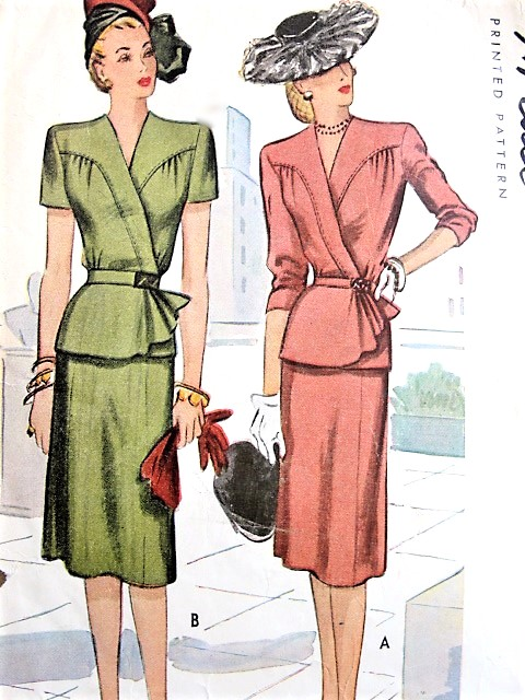 1940s BEAUTIFUL 2 Pc Dress Pattern McCALL 6404 Stunning Surplice Wrap-Effect Peplum Blouse , Slim Skirt, Daytime or Special Occasion Bust 36 Vintage Sewing Pattern