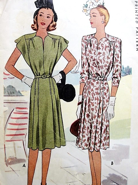 1940s Lovely Day Or Party Dress Pattern Mccall 6439 Two Eye Catching