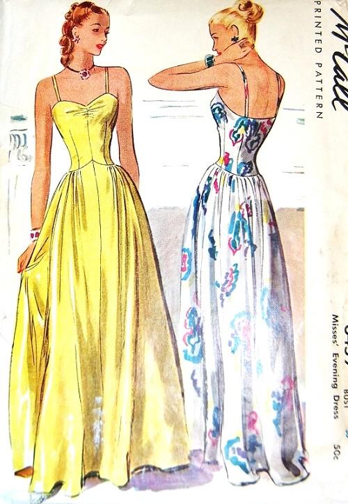 1940s Big Band Glamorous Evening Dress Pattern Mccall 6459