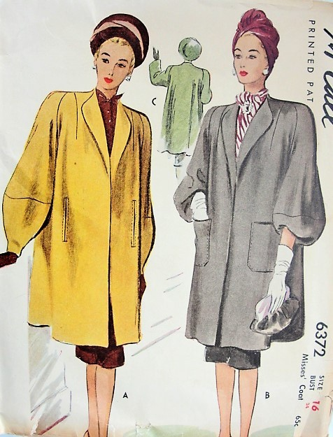 1940s STUNNING Film Noir Coat Pattern McCALL 6372 Beautiful Coat Two ...