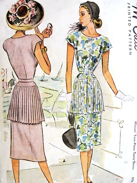 1940s BEAUTIFUL Two Pc Tunic Dress Pattern McCALL 6885 Eye Catching Pleated Skirt Tunic and Slim Skirt, Unique Day or Party Dress Bust 32 Vintage Sewing Pattern