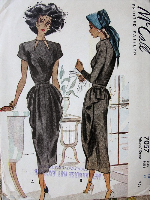 1940s GORGEOUS Day or Cocktail Party Evening dress Pattern McCALL 7057 Beautiful Design Cut Out Neckline, Front  Side Cascades Bust 34 Vintage Sewing Pattern