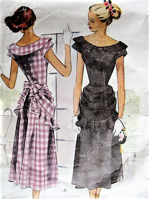 1940s LOVELY Party Dress Pattern McCALL 7175 Detachable Apron Style Over Skirt Bust 35 Vintage Sewing Pattern