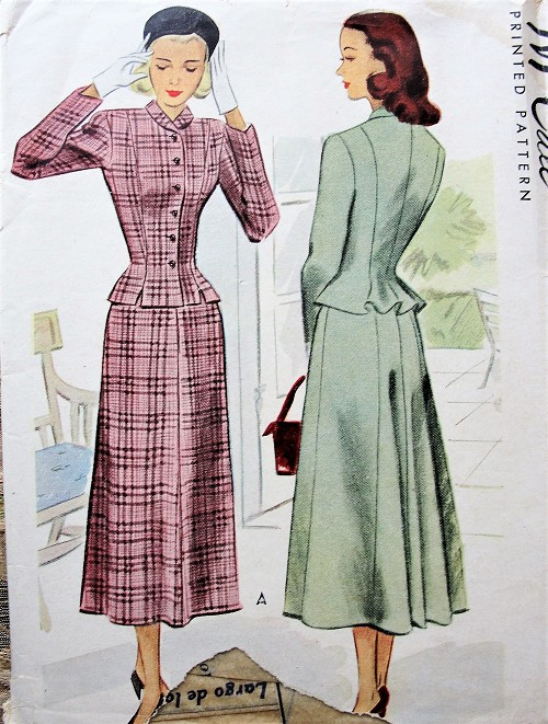 1940s STYLISH Suit Pattern McCALL Lovely Fitted Peplum Style Back Jacket, Beautiful Back Flared Skirt Bust 33 Vintage Sewing Pattern FACTORY FOLDED