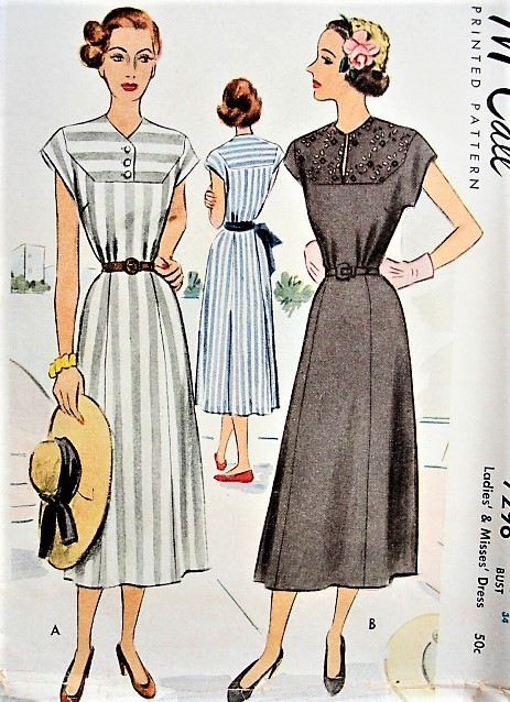 1940s CLASSIC Dress and Belt McCall 7298 Bust 34 Vintage Sewing Pattern