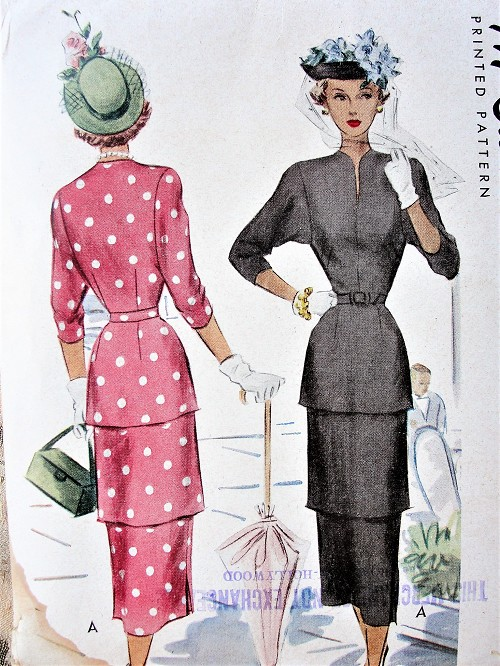 1940s LOVELY Tiered Slim Dress Pattern McCALL 7318 Stunning Design Day or Dinner Party Dress Bust 32 Vintage Sewing Pattern FACTORY FOLDED