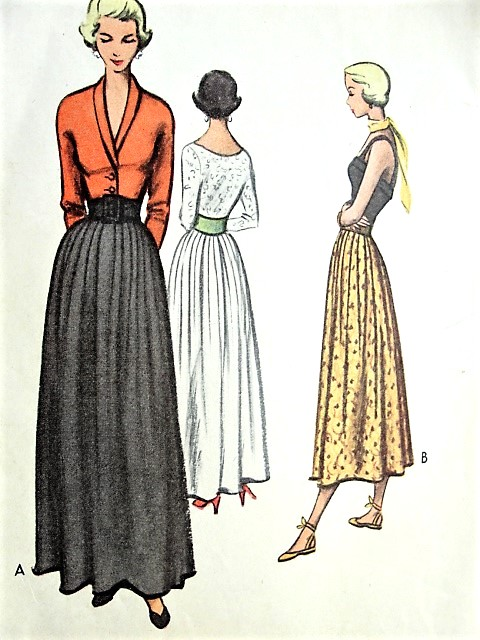 1940s ROMANTIC Skirt Pattern McCALL 7712 Two Lengths Day or Evening ...