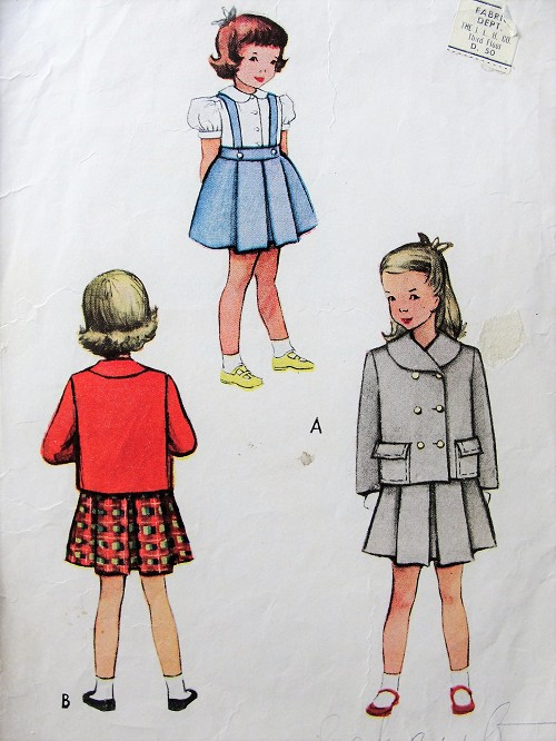 1940s Vintage SWEET Childs Two Piece Suit and Blouse McCall 7807 Sewing Pattern Chest 24
