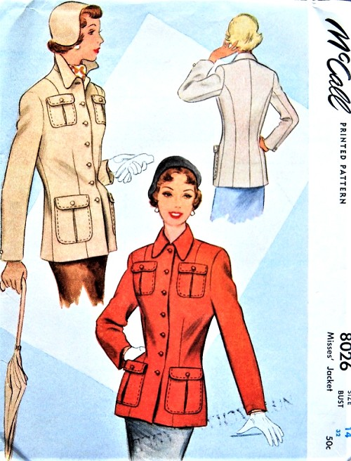 1950s STYLISH Jacket Pattern McCALL 8026 Classy Casual Jacket Bust 32 Vintage Sewing Pattern FACTORY FOLDED