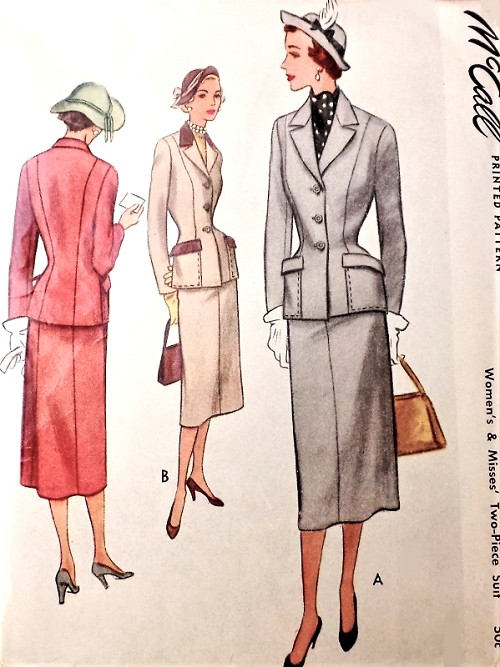 1950s CHIC Suit Pattern McCALL 8218 Slim Skirt, Tailored Nipped Waist Jacket, Classic Suit, Bust 30 Vintage Sewing Pattern FACTORY FOLDED