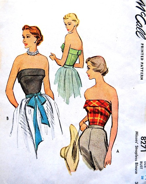 1950s GORGEOUS Strapless Evening Blouse Pattern McCALL 8271 Beautifully Cuffed and Fitted, Beach or Evening Bust 32 Vintage Sewing Pattern