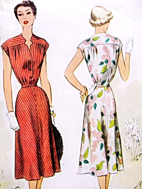 1950s Sleek Dress Pattern McCALL 8425 Lovely Notched Keyhole Style NecklineFlattering Flared Skirt Bust 34 Vintage Sewing Pattern