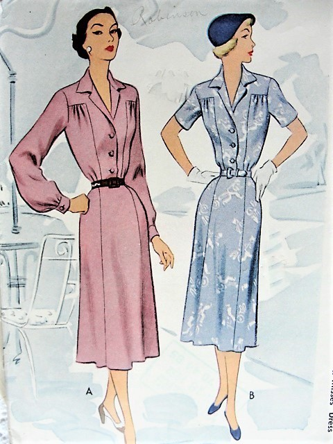 Vintage 1950s CASUAL Shirt Dress with Short or Long Sleeves McCall 8463 Sewing Pattern Bust 42