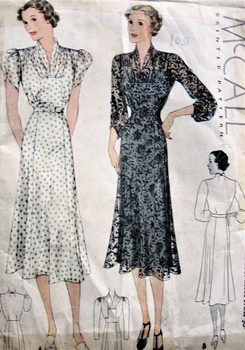 Vintage 1930s LOVELY Belted Dress In Two Styles McCall 9322 Sewing Pattern Bust 30