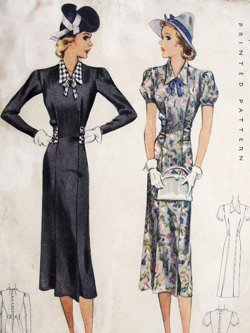 1930s Vintage SLIM Dress With Puff or Long Sleeves McCall Pattern 9576 Bust 31 Sewing Pattern