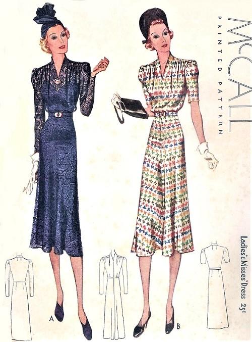 1930s BEAUTIFUL Art Deco Dress Pattern McCALL 9588 Flattering Draped ...