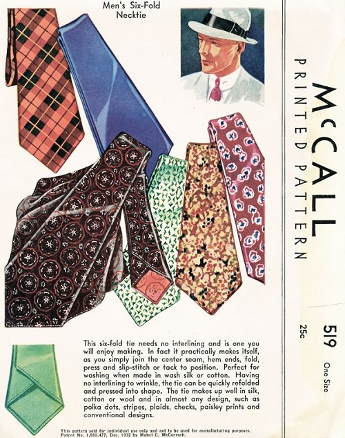 1930s Mens Six Fold NECK TIE Pattern McCall 519 Classy Easy To Make ...