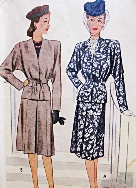 1940s Suit Pattern McCall 6442 War Time WW II Era  Beautiful Jacket In 2 Style Versions, Front Inverted Pleat Skirt  Bust 38 Vintage Sewing Pattern