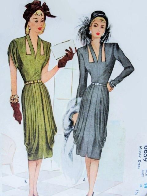 1940s Film Noir Cocktail Evening Dress Pattern Stunning
