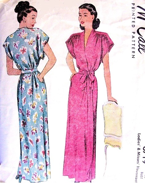 1940s LOVELY Housecoat Robe Hostess Gown Pattern McCALLl 6719 Beautiful  Shirred Shoulders Surplice Wrap Negligee Bust 30 Vintage Sewing ... 8916e0af8