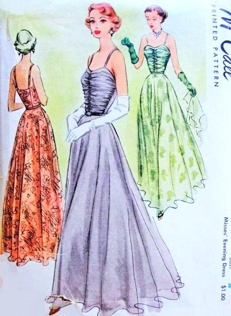 Late 1940s Beautiful Evening Dress Pattern McCall 7667 Eye Catching ...