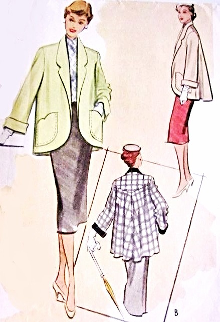 1950s LOVELY Swing Back Coat Jacket Pattern McCall 8431 Cutaway Front, Shaped Pockets Beautiful Design Bust 30 or 32 Vintage Sewing Pattern