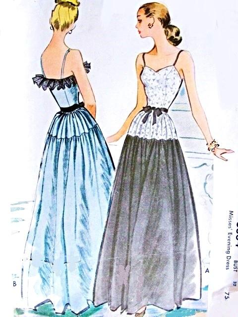 1940s Beautiful Evening Dress Pattern McCall 6834 Sweetheart ...