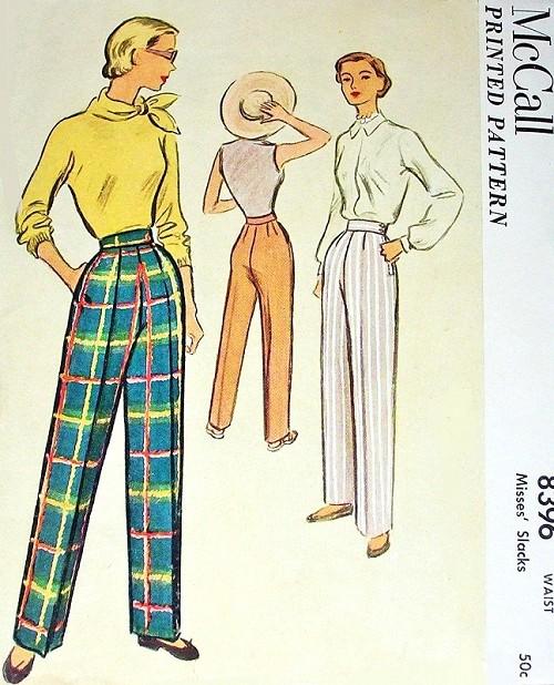 1950s High Waist Pants Slacks Pattern McCall 8369 Classy Side Zipper ...