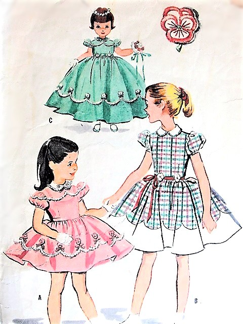 1950s DARLING Little Girls Dress and Slip Pattern McCALLS 2139 ...