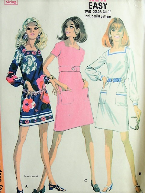 1960 MOD Mini Dress in Three Styles McCall\'s 2195 Vintage Sewing ...
