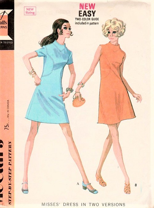 1960s MOD Dress Pattern McCALLS 2226 Seam Interest A Line Dress with Curved Insets Bust 34 Vintage Sewing Pattern FACTORY FOLDED