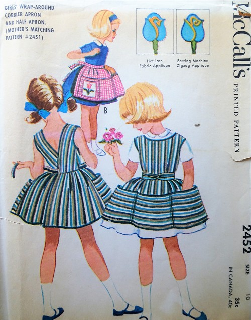 1960s Vintage SWEET Girls Apron with Applique McCalls 2452 Sewing Pattern
