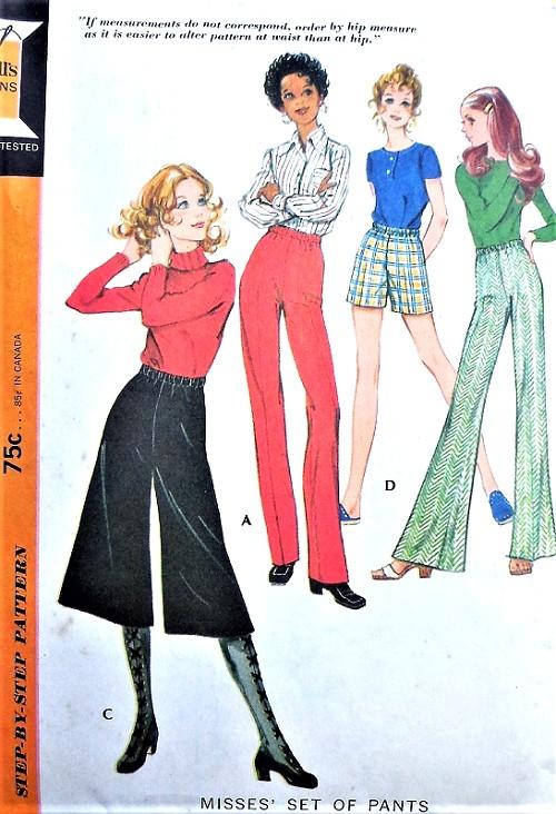 Retro 70s High Waist Shorts Wide Leg Pants Midi Culottes Gauchos