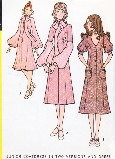 70s McCalls 2746 Sewing Pattern ROMANTIC MIDI Coatdress and Dress, Two Bohemian Styles Bust 35 Vintage Sewing Pattern