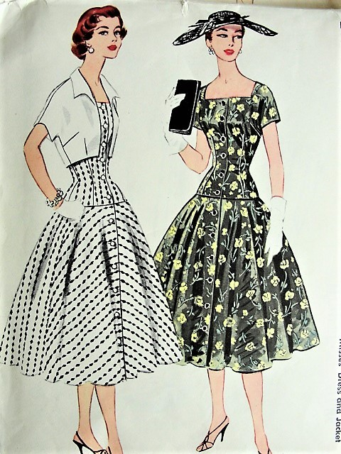 1950s Alluring Drop Waist Dress And Jacket Mccalls 3175 Vintage