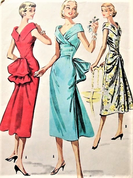 1950s UNIQUE Party Evening Cocktail Dress Pattern McCALLS 3744 Beautiful Design With Large Bustle Bow Version Bust 34 Vintage Sewing Pattern