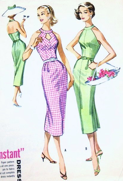 1950s BOMBSHELL Halter Dress Pattern McCALLS 4070 Slim Cocktail Party Dress Cutout Neckline Version Bust 32 Vintage Sewing Pattern